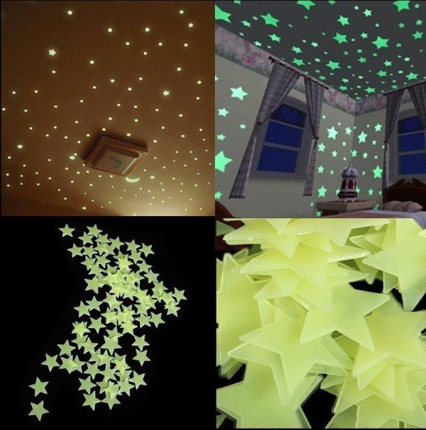 100pcs Home Wall Light Green Glow In The Dark Star Stickers Decal Baby Kids Room1