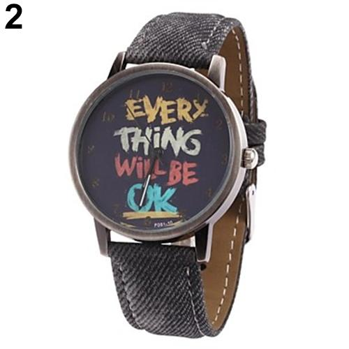Men s Women s Every Thing Will Be Ok Denim Band Analog Quartz Dress Wrist Watch dropshipping1