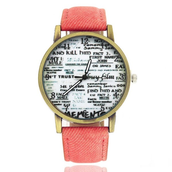 Women Retro Watch Lovers Numerals Newspaper Dial Design Watches Students Cre 9