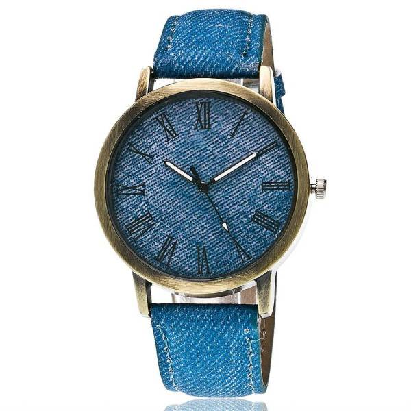 img 3 CAY Fashion Casual Womens Mens Quartz Wristwatches Blue Denim Rome Literal Bronze Simple Design Cowboy Watches