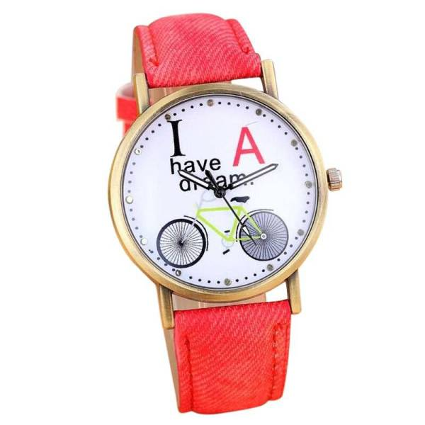 img 3 New Women Men Fashion Denim Strap Watches Bicycle Pattern Wrist Watch
