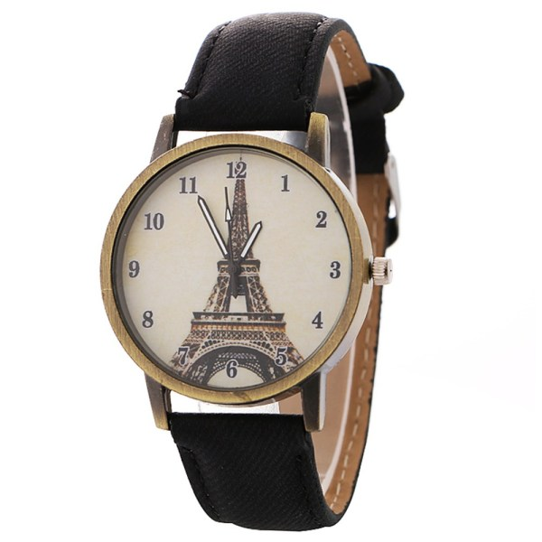 luxury designer Eiffel tower patterned women s watch bronze vintage denim band watches w 9