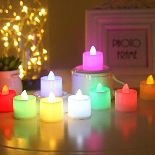 Multicolor LED Candle Multicolor Lamp Simulation Color Flame Tea Light Home Wedding Propose Marriage Birthday Party 1 | Online In Pakistan