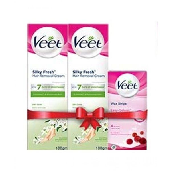 veet face wax strips normal with 2 cream for dry skin 100gm
