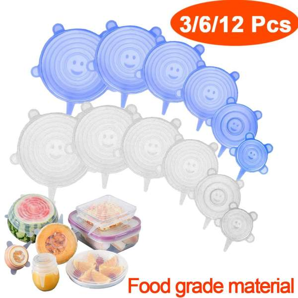 3 6 12 Pcs Food Silicone Cover Cap Universal Silicone Lids for Cookwa   Online In Pakistan