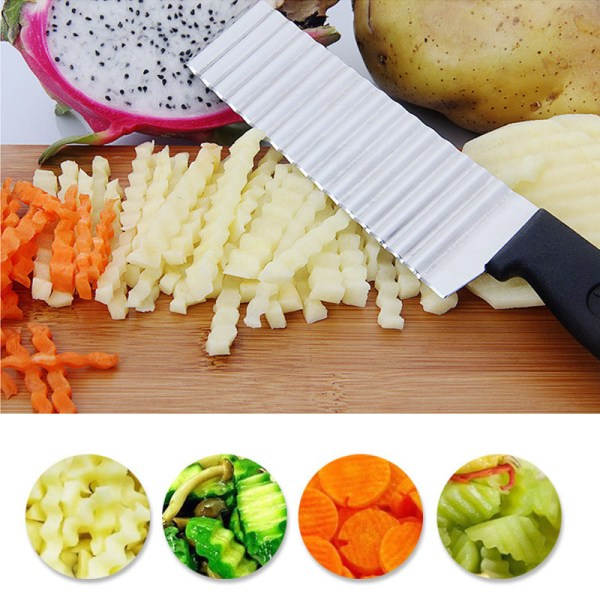 Stainless Steel Potato French Fry Cutter Kitchen tool Wave Knife 10   Online In Pakistan