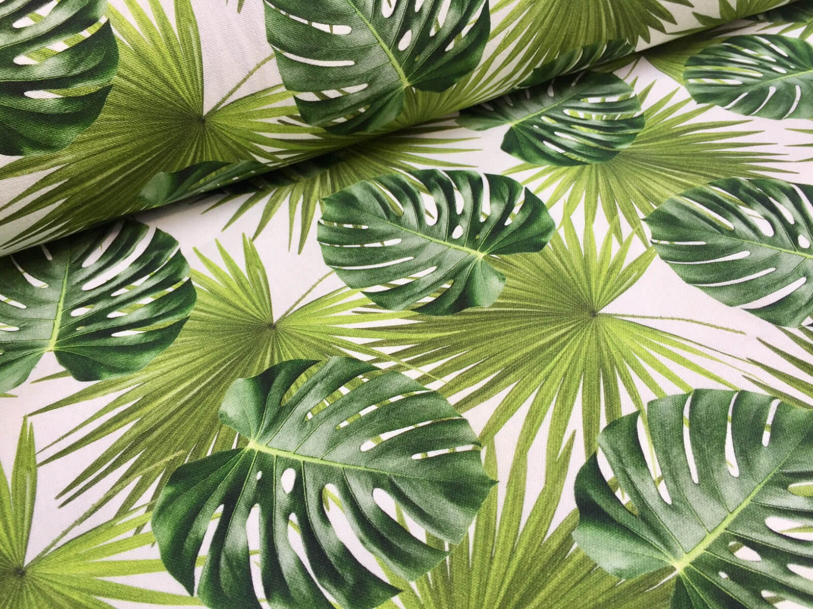 GREEN PALM LEAVES Cotton Fabric For Curtain Upholstery Digital Tropical Botanical Leaf 140cm