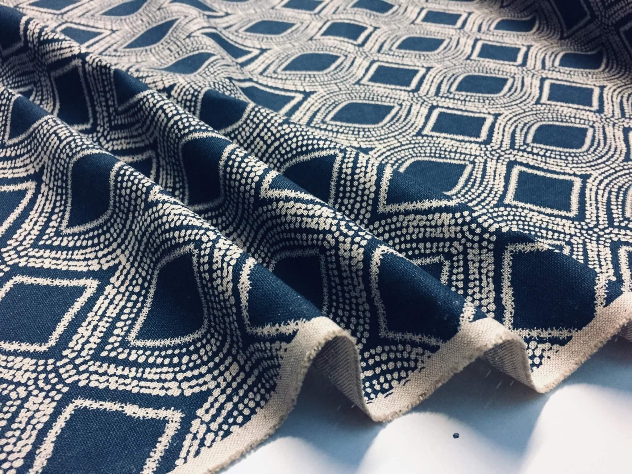 art deco damask rhombus diamond fabric linen look material furnishing curtains upholstery 140cm wide navy blue cream
