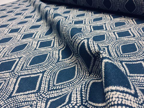 art deco damask rhombus diamond fabric linen look material furnishing curtains upholstery 280cm wide navy blue cream