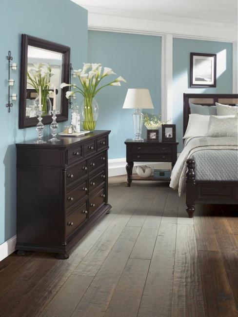Dark Wood Floor White Walls Living Room Novocom Top