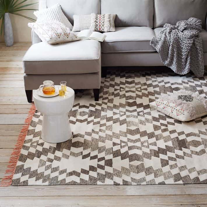 Palmette Chenille Wool Kilim Rug / Cool Area Rugs