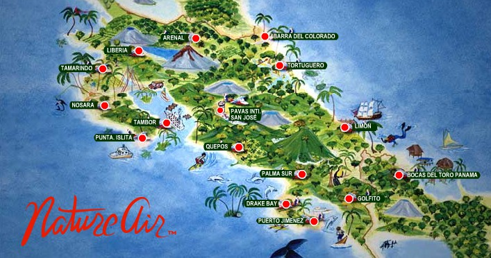 Nature Air map | Surf Trip Costs in Costa Rica
