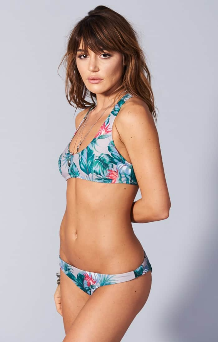 surf side scoop bra bikini top & beach club bikini bottom in kauai kisses / show me your mumu / Chic Surf Bikinis That Stay On In The Waves
