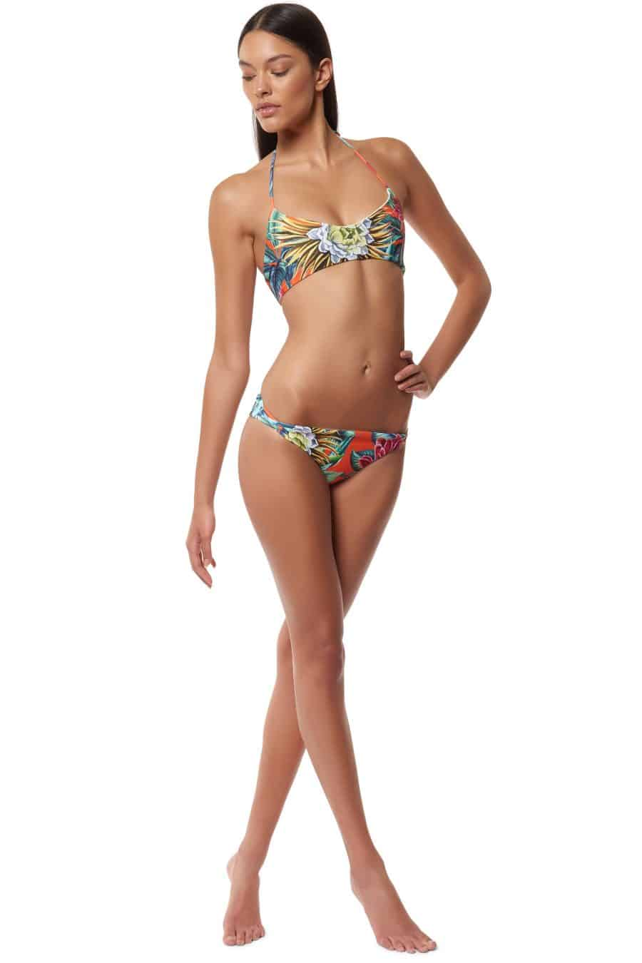basket weave reversible bikini top & bottom in cactus floral / mara hoffman / Chic Surf Bikinis That Stay On In The Waves