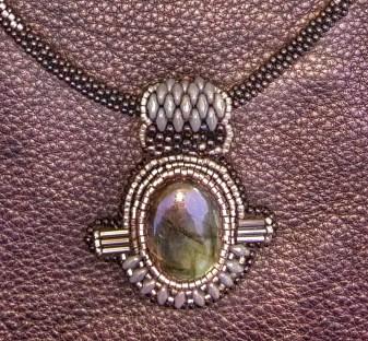 Ashevillian Art Deco Necklace - Laboradorite Cabochon, hand beaded necklace and toggle clasp