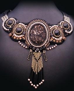 prosperity sunset necklace with leopardskin jasper and black onyx