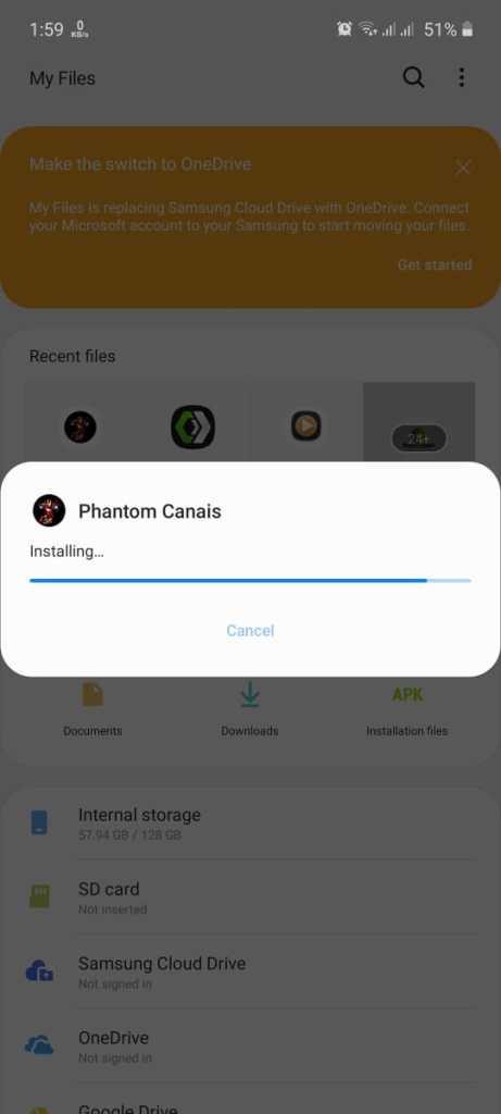 Screenshot of Phantom Canais