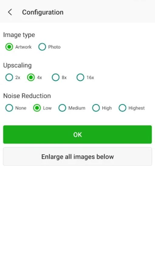 Screenshot of Bigjpg App