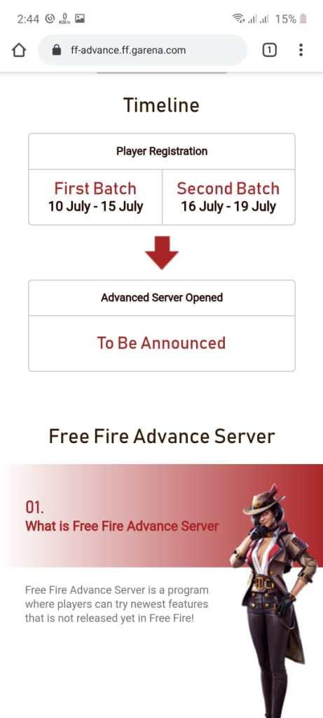 Screenshot of Free Fire Advance Server OB 23