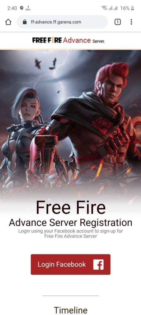 Screenshot of Free Fire Advance Server Registration