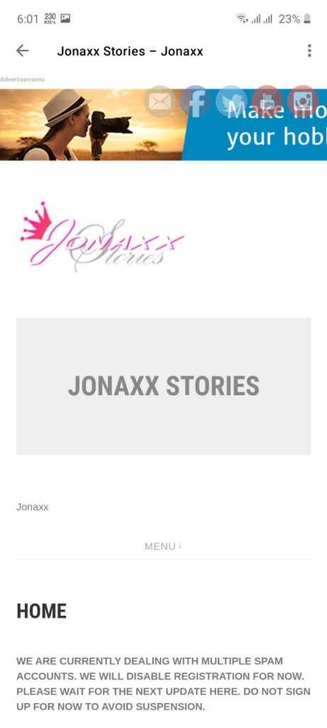Screenshot of Jonaxx App