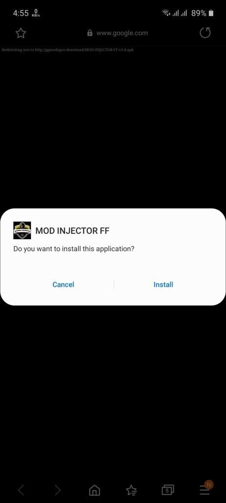 Screenshot of MOD Injector FF