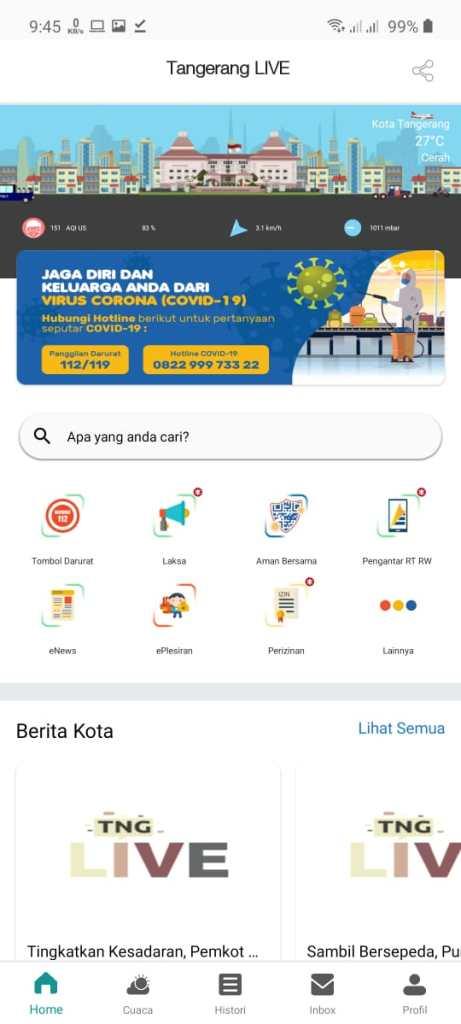 Screenshot of Tangerang Live App