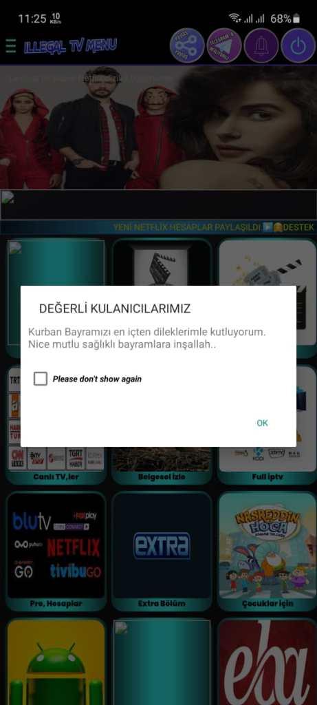 Screenshot of ILLEGAL TV VIP App