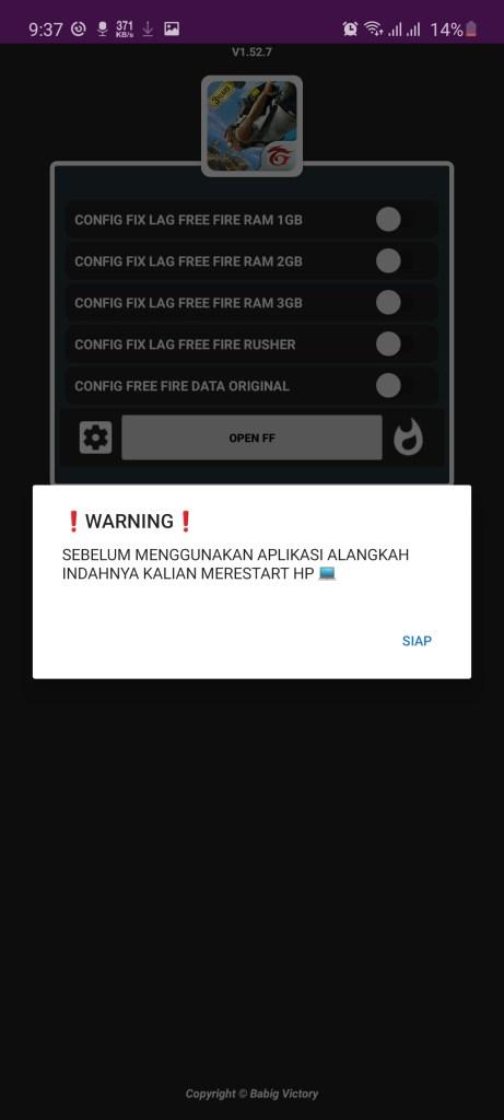 Screenshot of Apk Config FF App