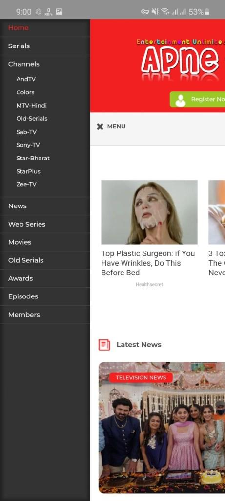 Screenshot of Apne TV Apk