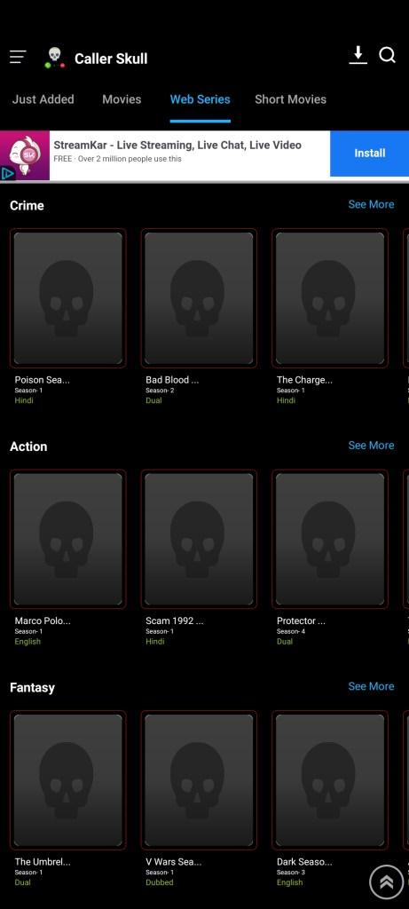 Screenshot of Caller Skull App