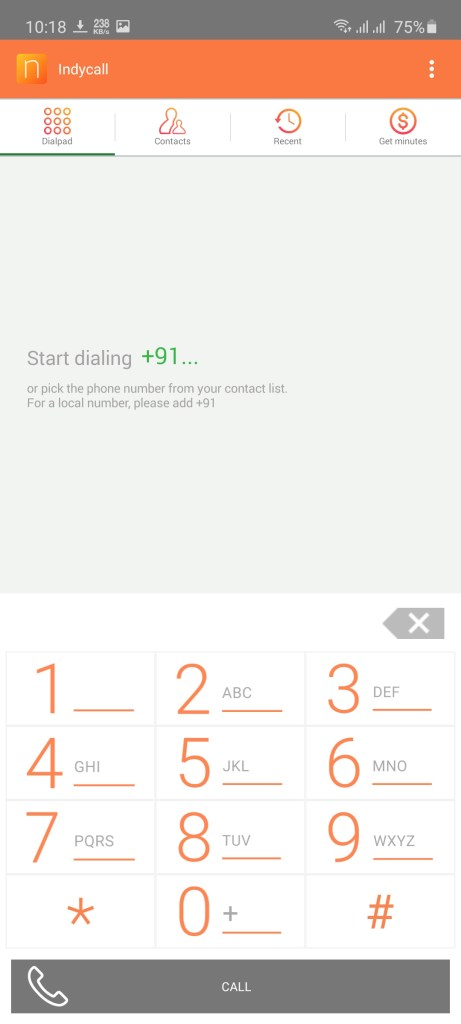 Screenshot of IndyCall App