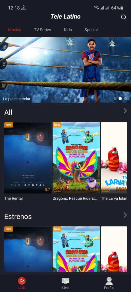 Screenshot of Tele Latino App