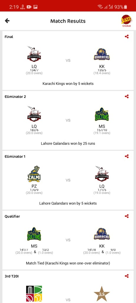 Screenshot of Jazz Cricket For Android