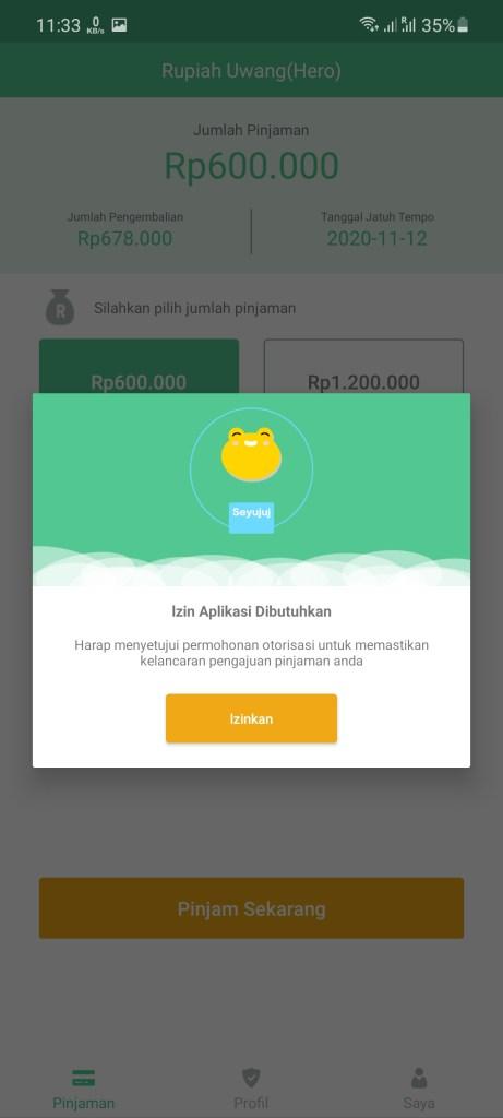 Screenshot of Rupiah Uwang App