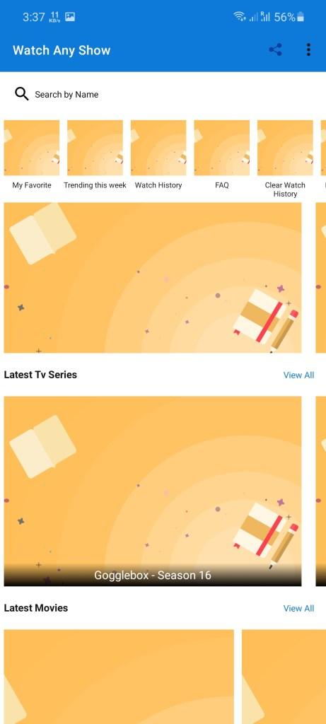 Screenshot of Watch Any Show App