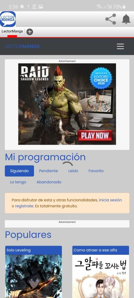 Screenshot of LectorManga App