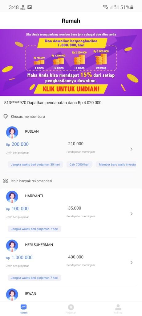 Screenshot of Love Money App