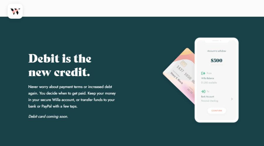 Screenshot of Willa Pay App