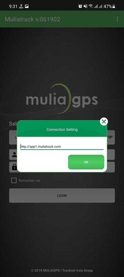 Screenshot of MuliaTrack Android