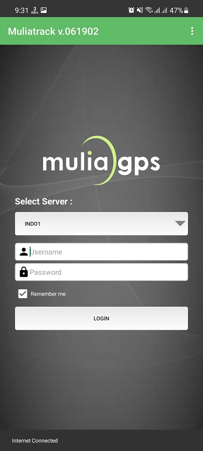 Screenshot of MuliaTrack App
