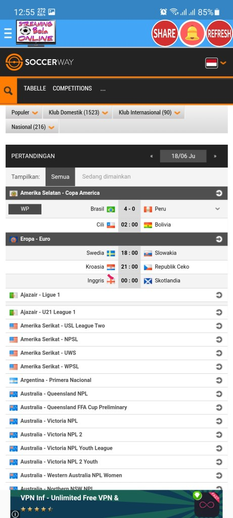 Screenshot of Streaming Bola Online App Download