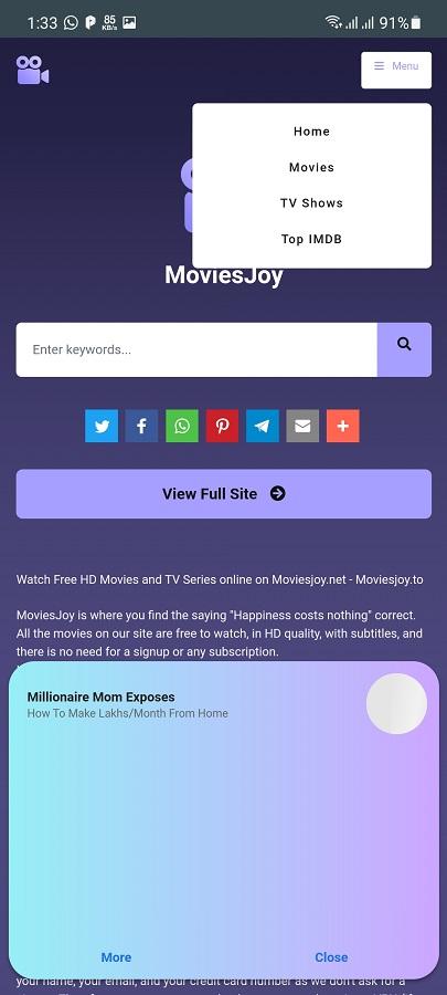 Skermprint fan MoviesJoy Apk