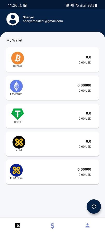 Screenshot of Xum Wallet Download