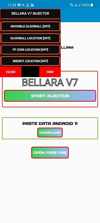 Screenshot of Bellara Injector Free Fire