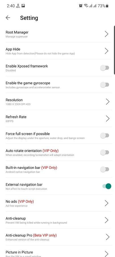 Screenshot of F1 VM Android