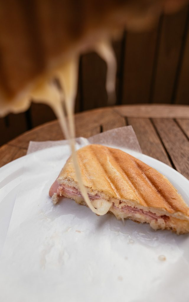 Tosta mista (grilled ham and cheese) at Golden Wheat Bakery