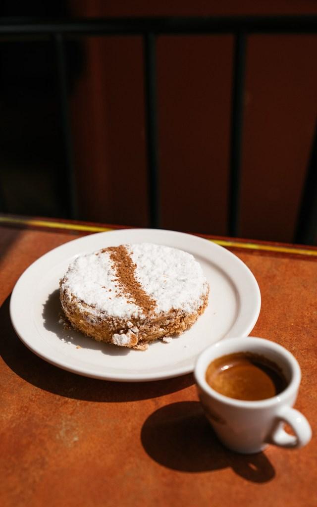 Vanilla Cinnamon cake with an espresso at Nova Era Bakery and Pastry