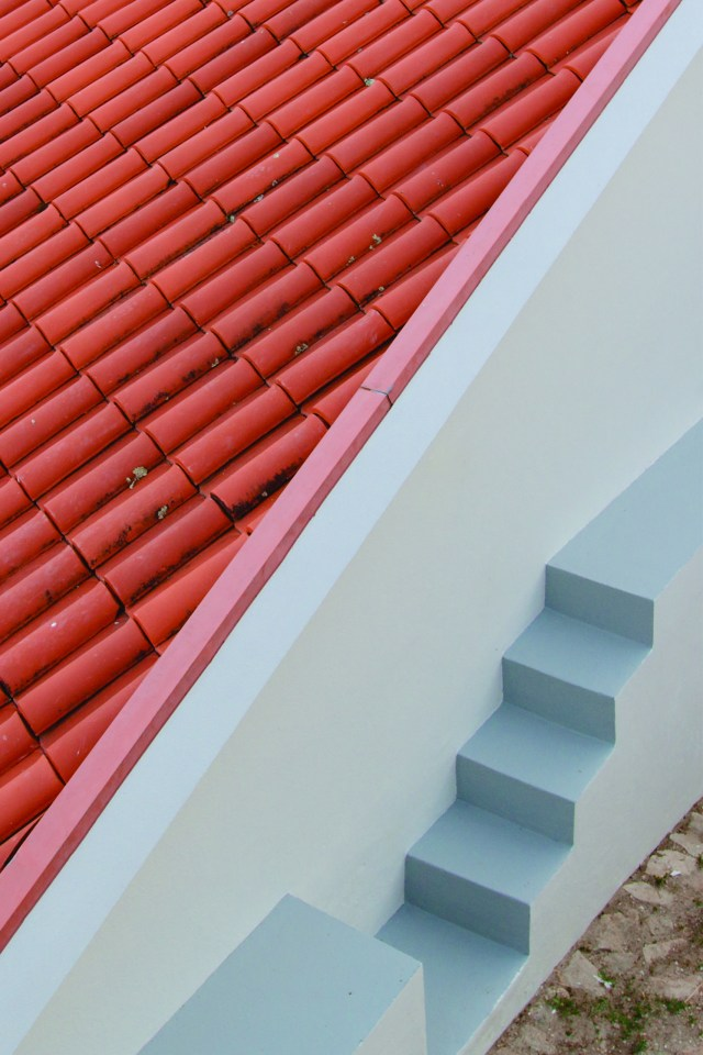 Clay roof on the island of Milos in Greece