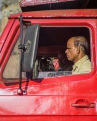 Man in truck in Mumbai